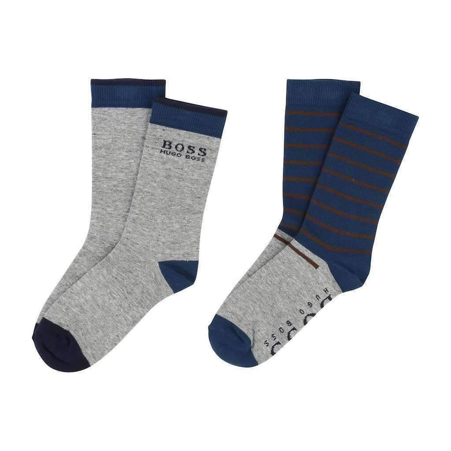 Boss Gray & Blue Jacquard Socks