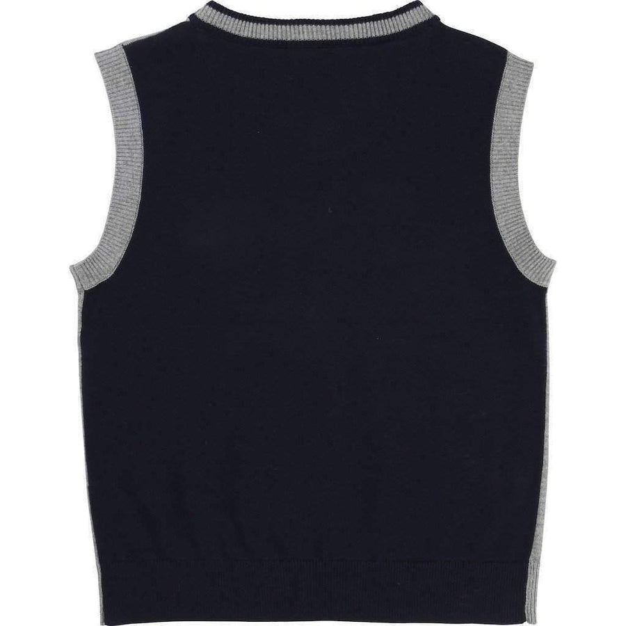 Boss Gray Knit Sweater Vest-Shirts-BOSS-kids atelier