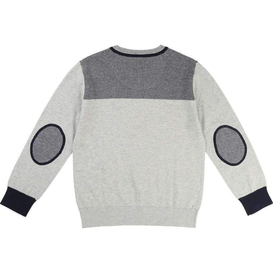 Boss Gray V-Neck Knitted Sweater