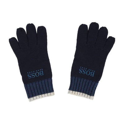Boss Navy Blue Logo Knitted Gloves-Accessories-BOSS-kids atelier