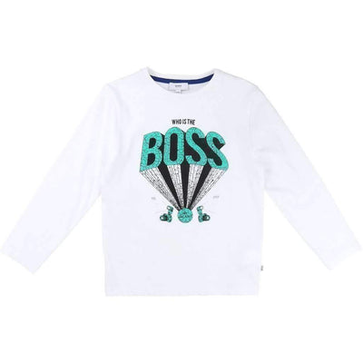 Boss White 3D Logo Shirt-Shirts-BOSS-kids atelier