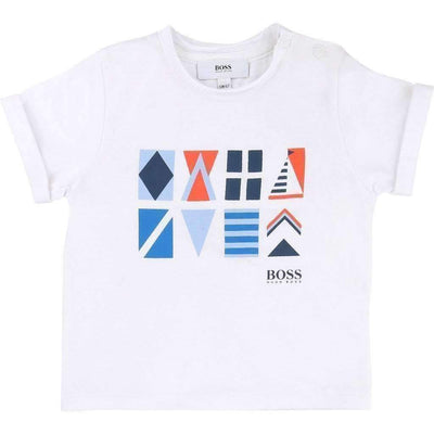 Boss White Printed T-Shirt-Shirts-BOSS-kids atelier
