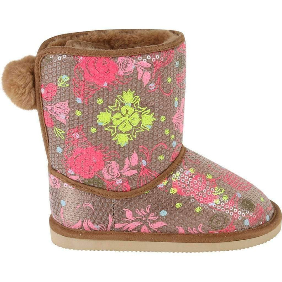 Brown Fur Boots With Floral Glitter