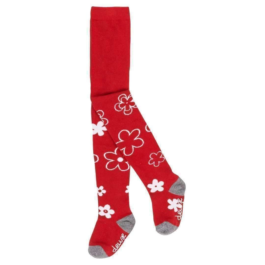 Deux Par Deux Red Daisy Tights-Accessories-Deux Par Deux-kids atelier