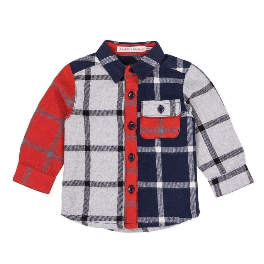 Deux Par Deux Red White & Blue Plaid Shirt-Shirts-Deux Par Deux-kids atelier