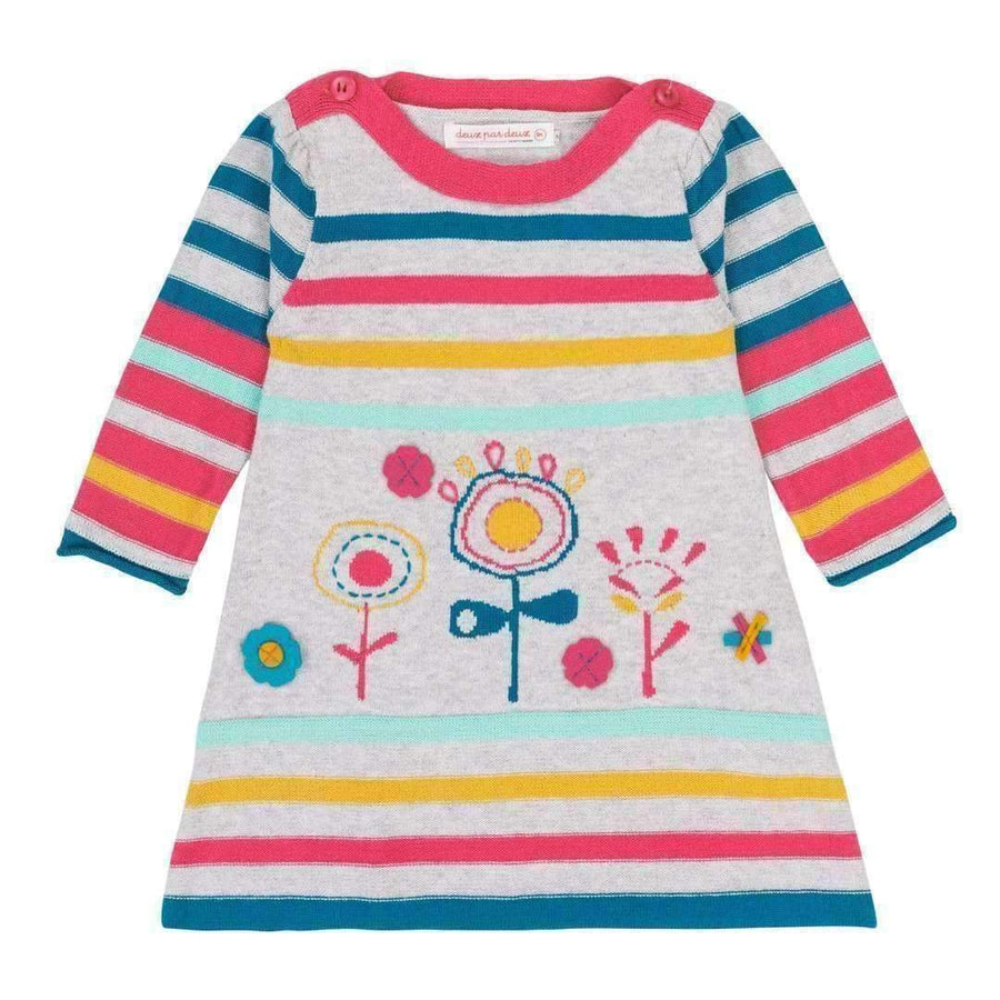 Deux Par Deux Striped Knit Floral Dress-Dresses-Deux Par Deux-kids atelier