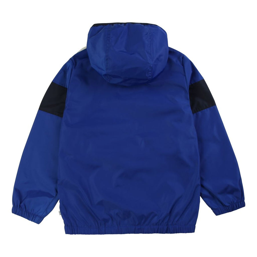 Blue Logo Stripe Packable WIndbreaker