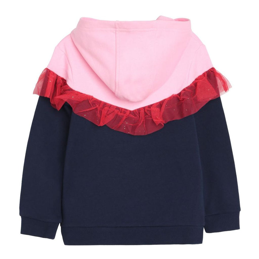 NAVY RED RUFFLE SWEATSHIRT