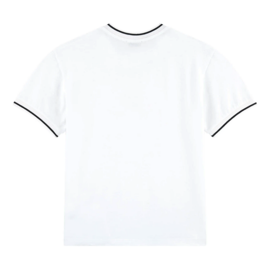 DOLCE & GABBANA WHITE EMBROIDERED LOGO T-SHIRT