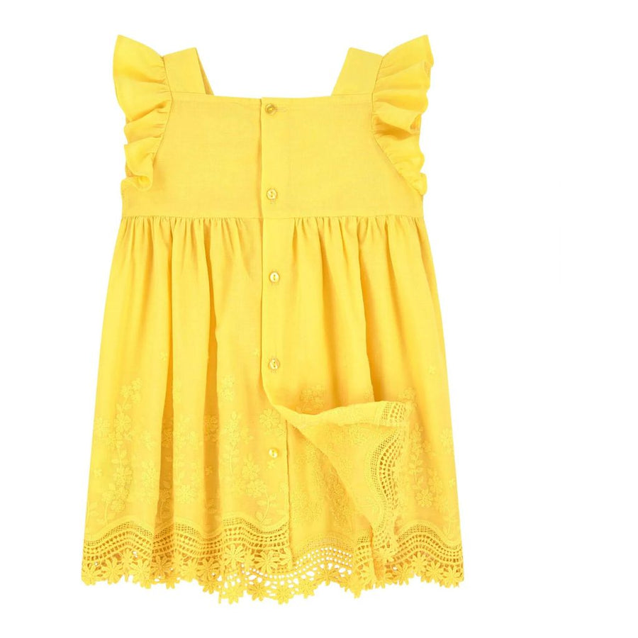 MAYORAL-3952-46-EMBROIDERED POPLIN DRESS-YELLOW