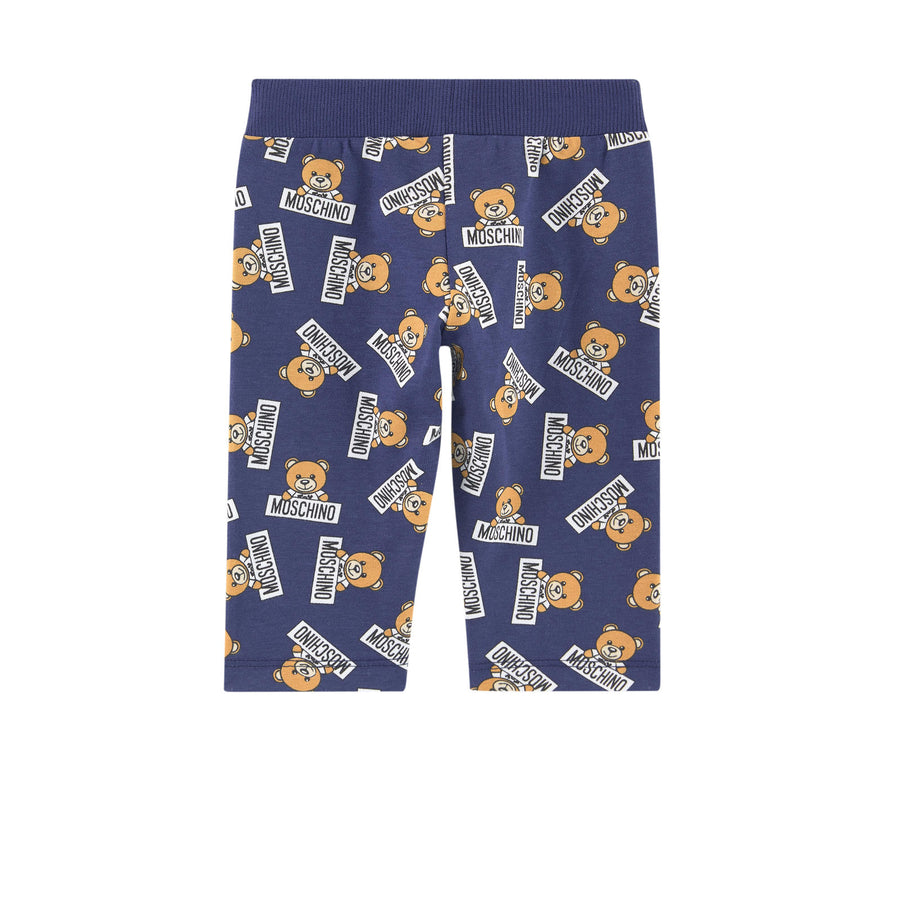 MOSCHINO-BABY ALL OVER TEDDY BEAR PRINT LOGO PANT-MZP01FLBB06-83977 BLUE-Default-Moschino-kids atelier