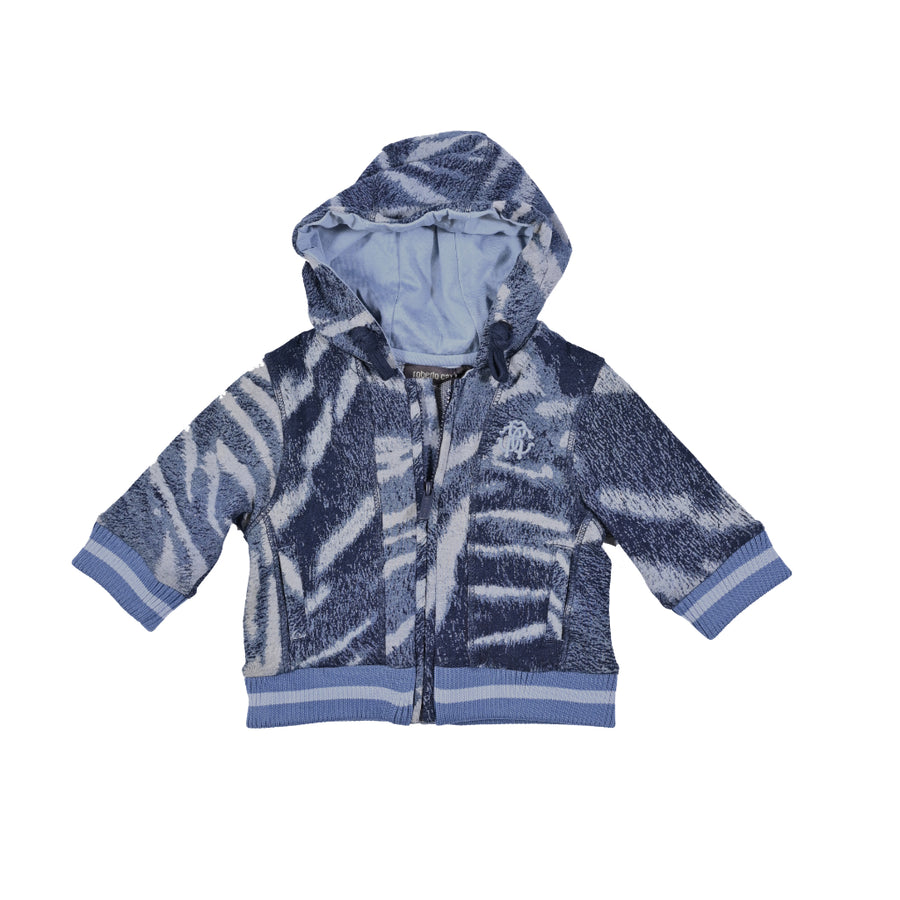 Blue Melange Hooded Sweatshirt