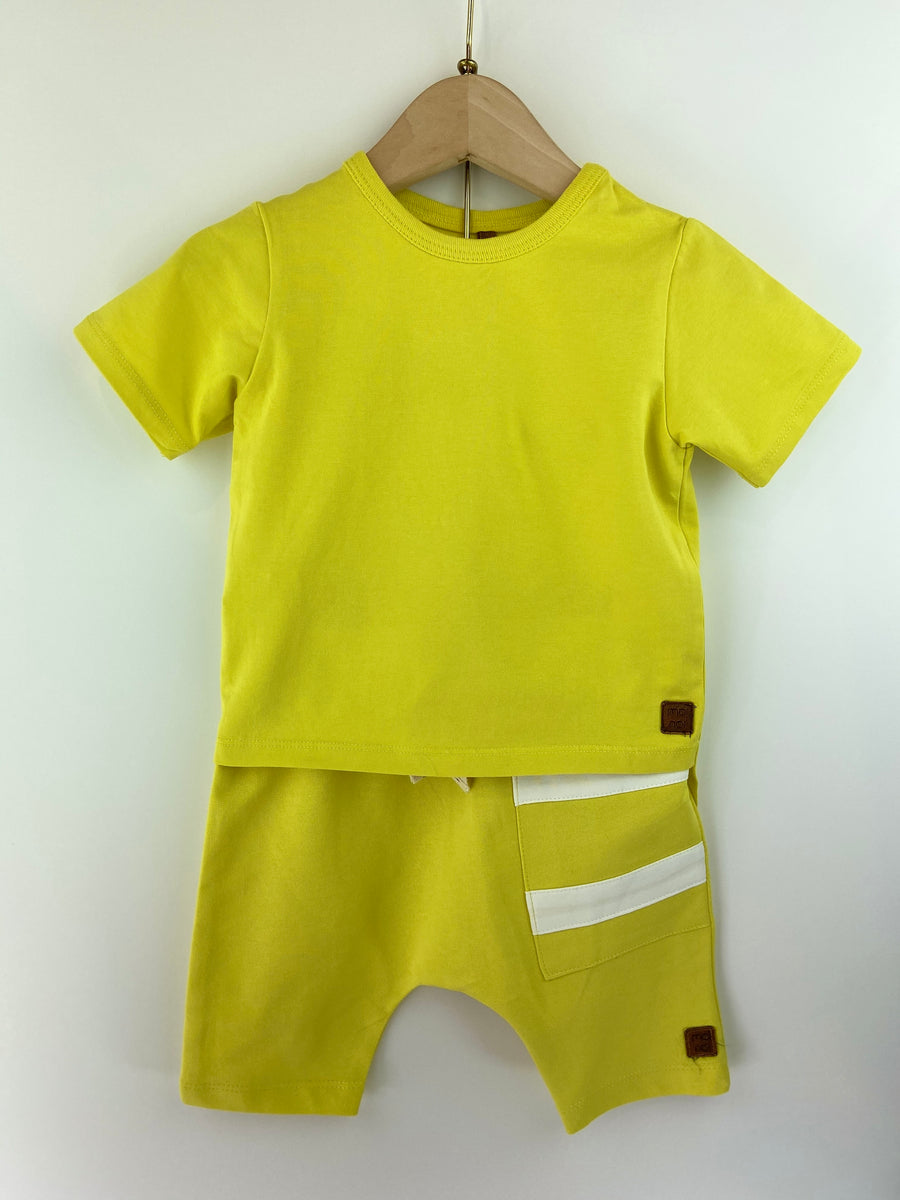 YELLOW ASYMMETRIC T-SHIRT & SHORT SET