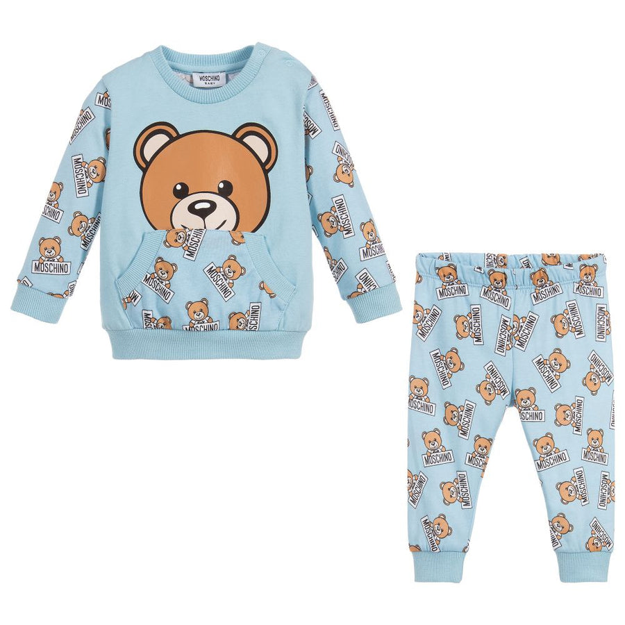 MOSCHINO-BABY ALL OVER TEDDY BEAR PRINT T-SHIRT & PANT SET-MUK01PLAB07-83976 BABY BLUE-Default-Moschino-kids atelier