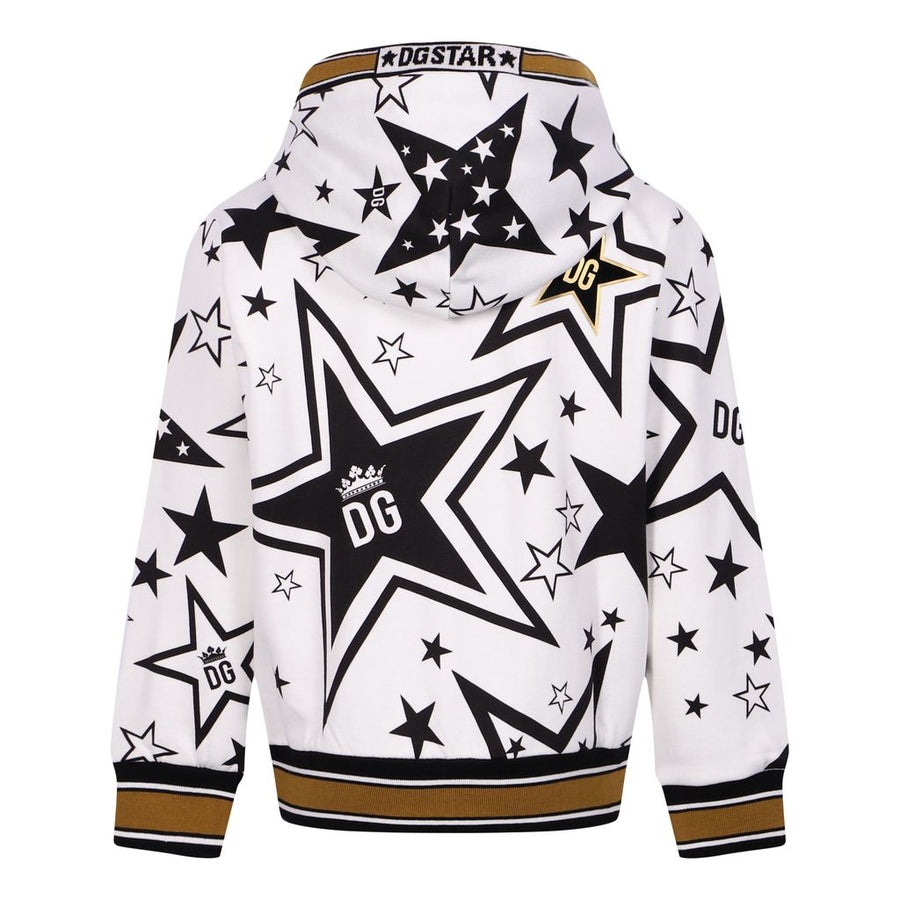 WHITE STAR LOGO HOODED CARDIGAN