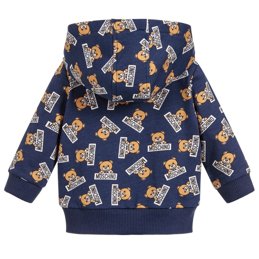 MOSCHINO-BABY ALL OVER TEDDY BEAR PRINT ZIPPER SWEAT TOP-MNF00QLDB03-83977 BLUE-Default-Moschino-kids atelier