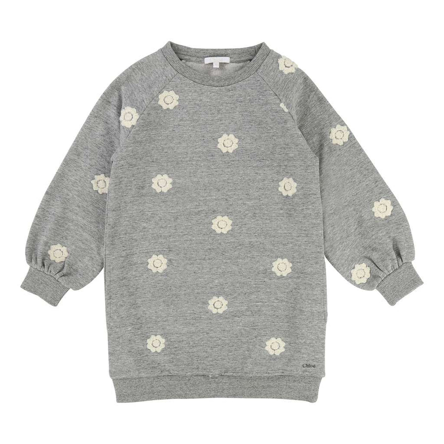 Chloé Grey-Marl Sweatshirt Dress-Default-Chloe-kids atelier