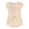 chloe-pale-pink-logo-romper-c04158-44b  Pink playsuit for younger girls by Chloé. Made in lightweight cotton jersey, the