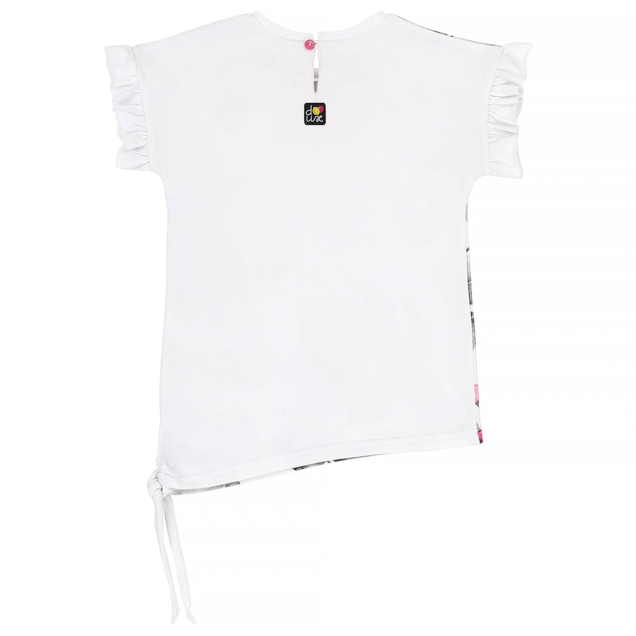 Deux Par Deux White With Lemon Printed T-Shirt-a30j72-100-