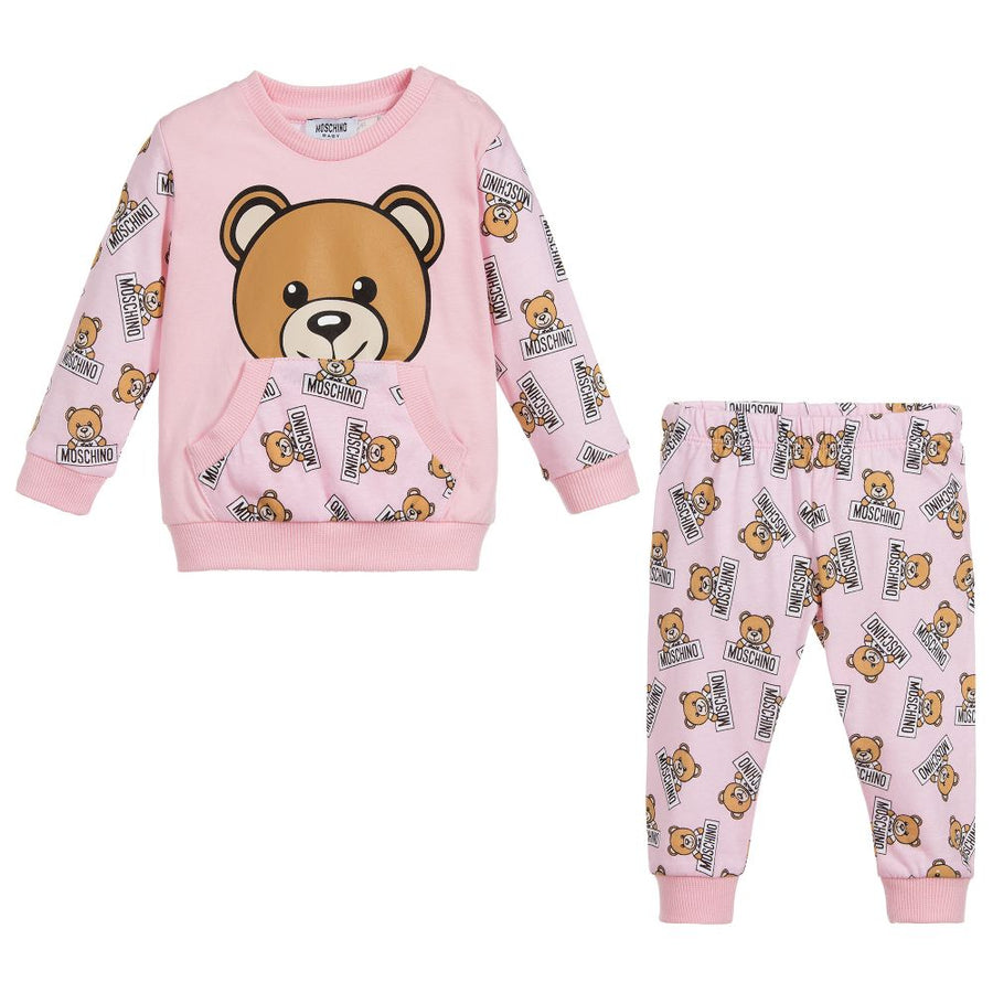 MOSCHINO-BABY ALL OVER TEDDY BEAR PRINT T-SHIRT & PANT SET-MUK01PLAB07-83975 PINK-Default-Moschino-kids atelier