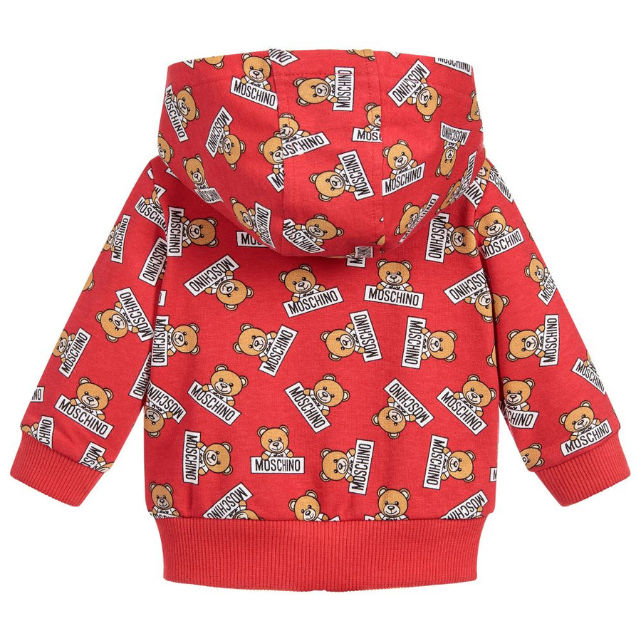 MOSCHINO-BABY ALL OVER TEDDY BEAR PRINT ZIPPER SWEAT TOP-MNF00QLDB03-83994 RED-Default-Moschino-kids atelier