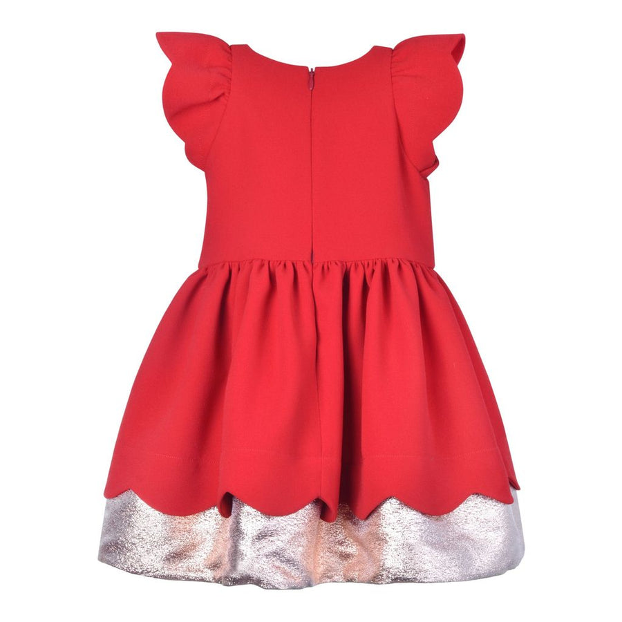 Crimson Scalloped Bodice Dress