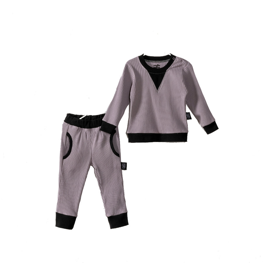 GRAY SOLID TRACKSUIT SET