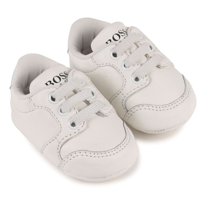 Baby White Leather Trainers - kids atelier