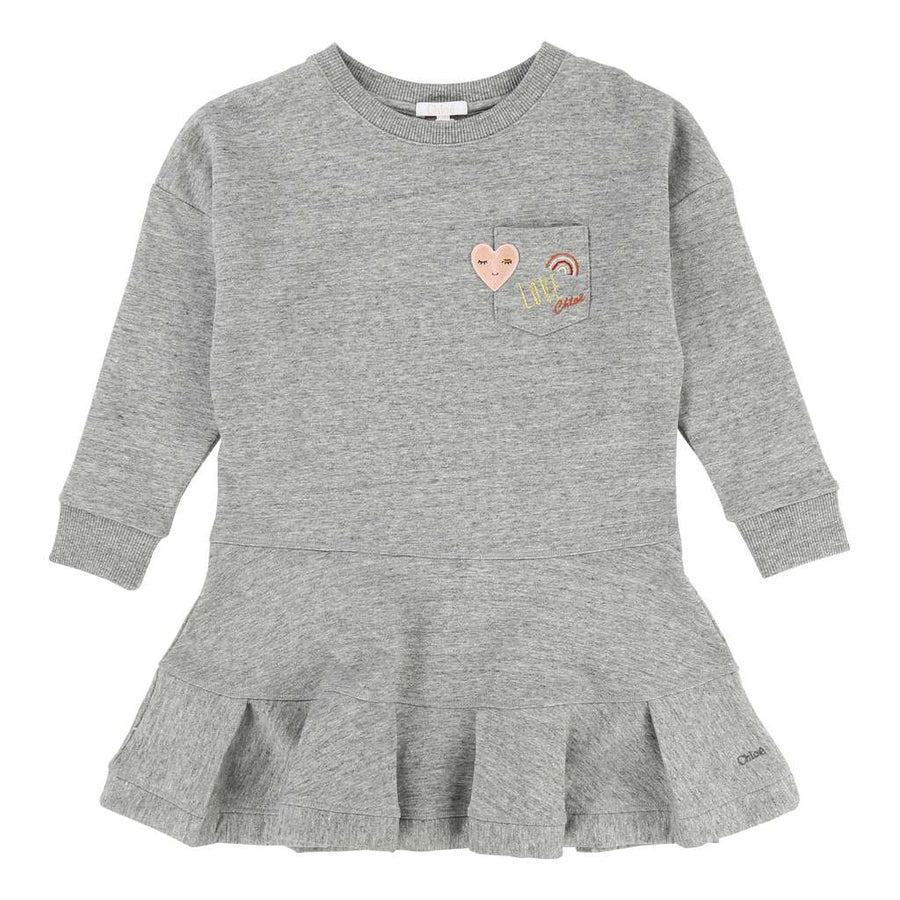 Chloé Grey Jersey Dress-Default-Chloe-kids atelier