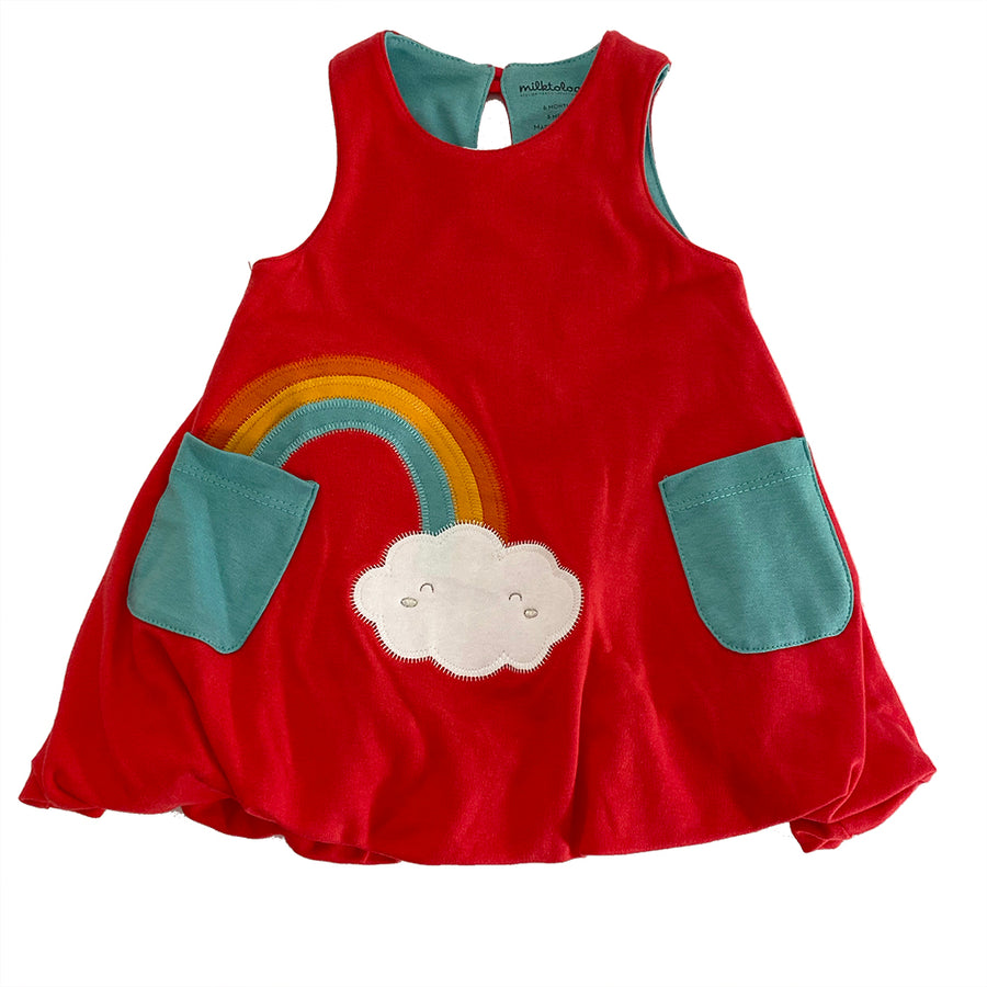 MILK349-Raspberry-RAINBOW CLOUD BUBBLE DRESS  BARN BEES PEAS