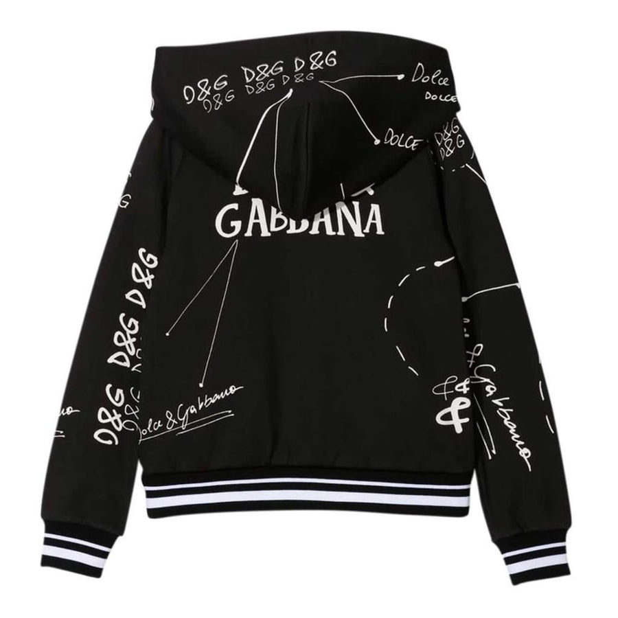 D&G-HOODED CARDIGAN-L5JW2R-G7XBP-HN2FI-BLACK/WHITE