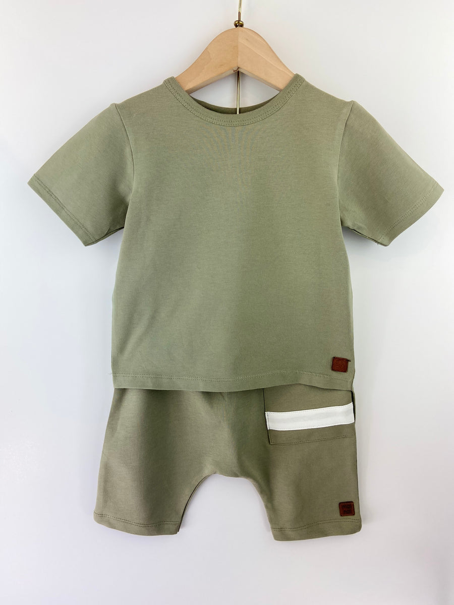 KHAKI ASYMMETRIC T-SHIRT & SHORT SET
