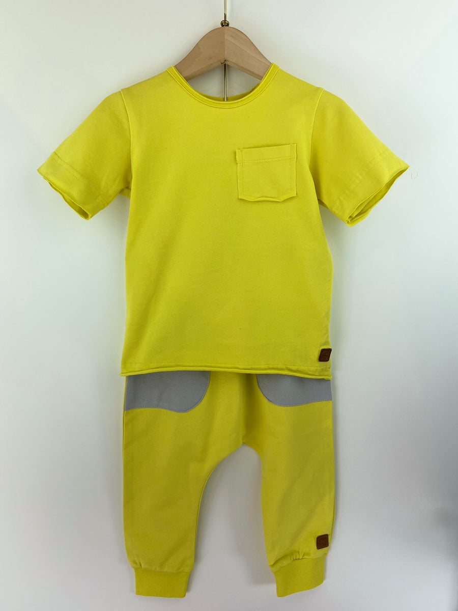 YELLOW POCKET T-SHIRT & PANT SET