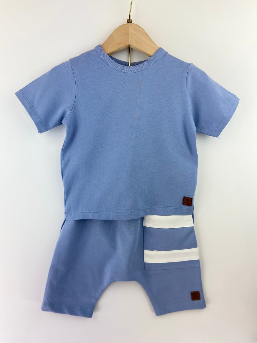 BLUE ASYMMETRIC T-SHIRT & SHORT SET