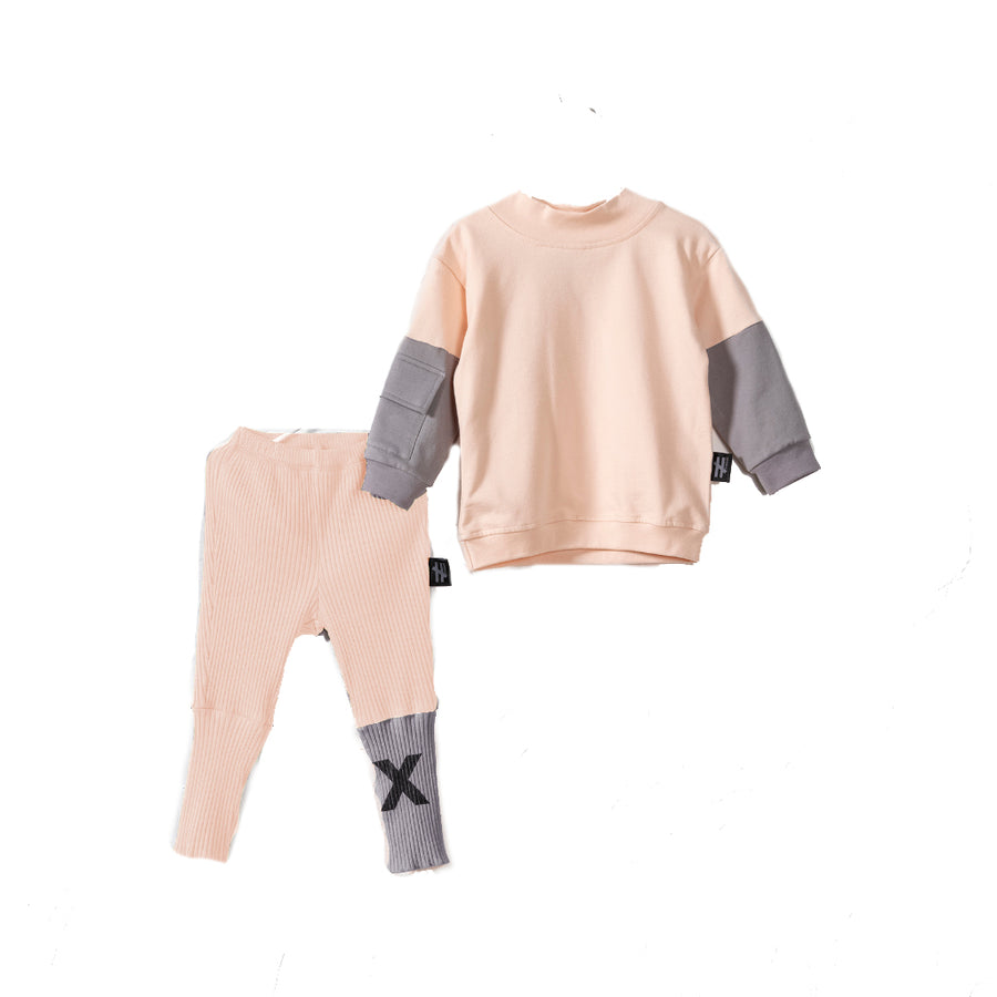 PEACH COLORBLOCK BABY TRACKSUIT SET