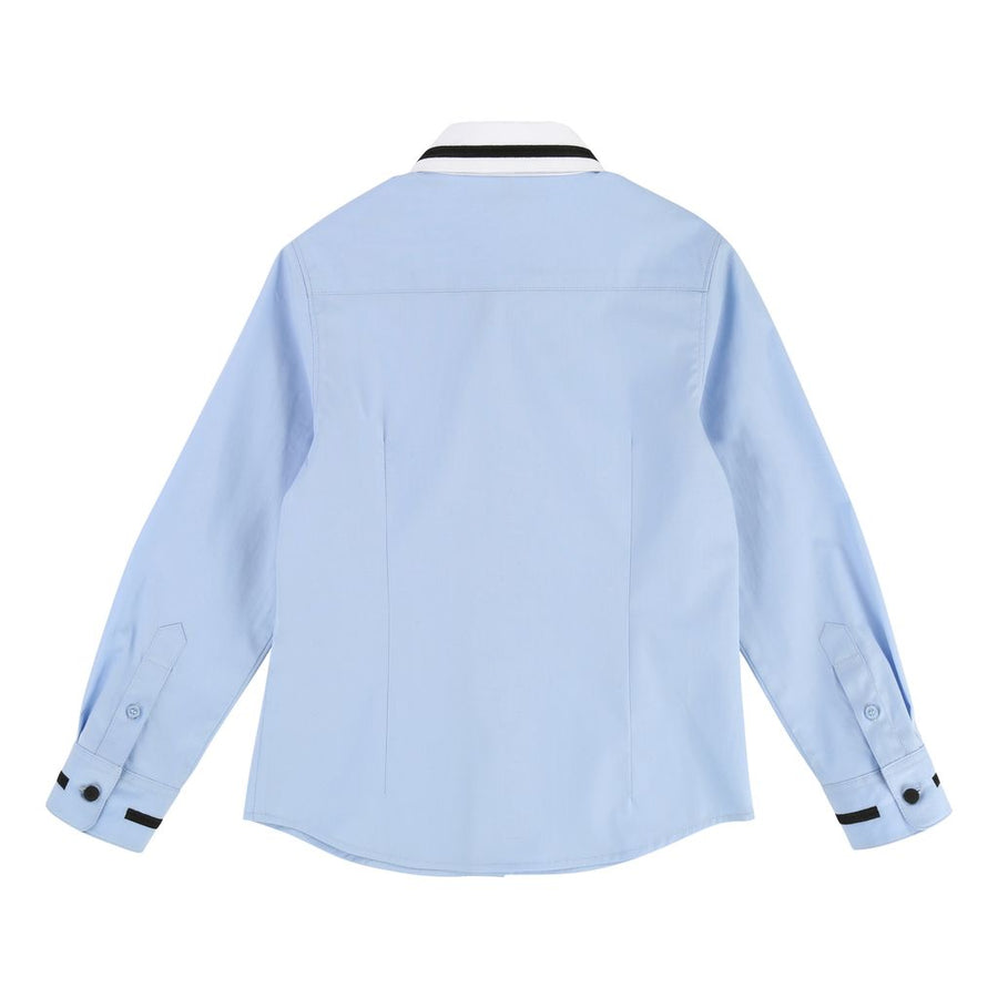 Givenchy Blue Long Sleeve Star Collar Shirt-h25038-77d