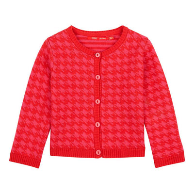 OILILY-Kwickly knitted cardigan 24 pink red pied de poule-YF18GKN042-24-Default-Oilily-kids atelier