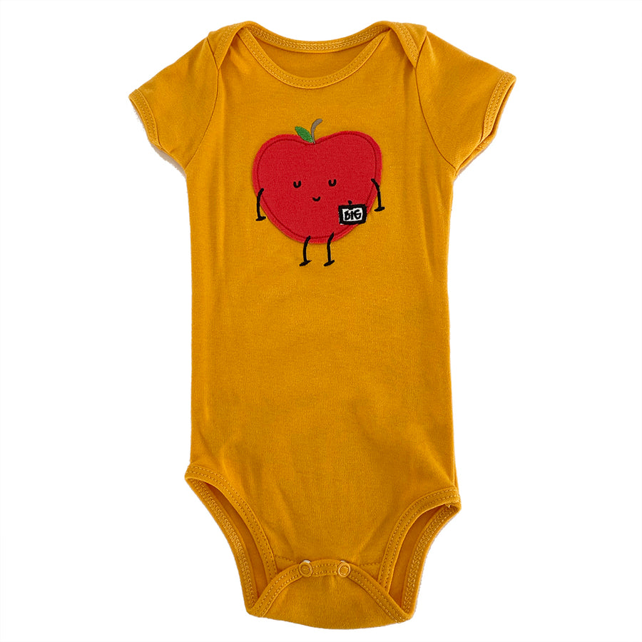 MILK378-YELLOW BIG APPLE BODYSUIT BARN BEES PEAS