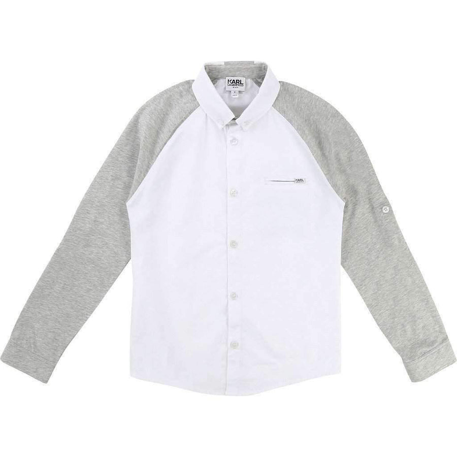 Grey and White Button Up Shirt