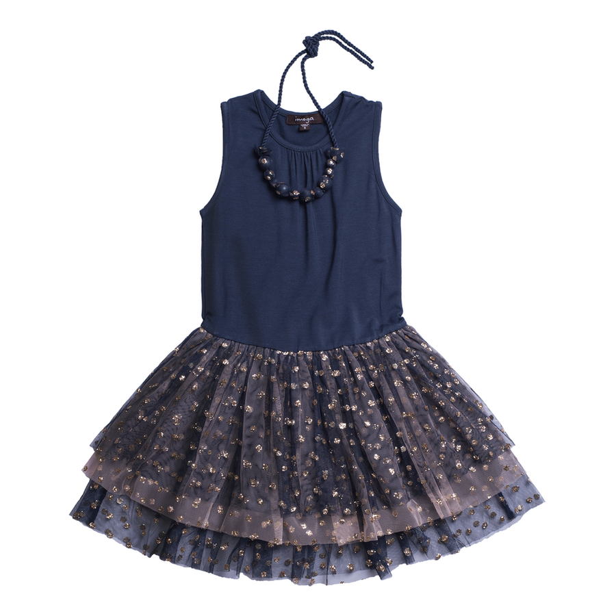 Imoga Navy Sara Glitter Mesh Dress-Dresses-Imoga-kids atelier