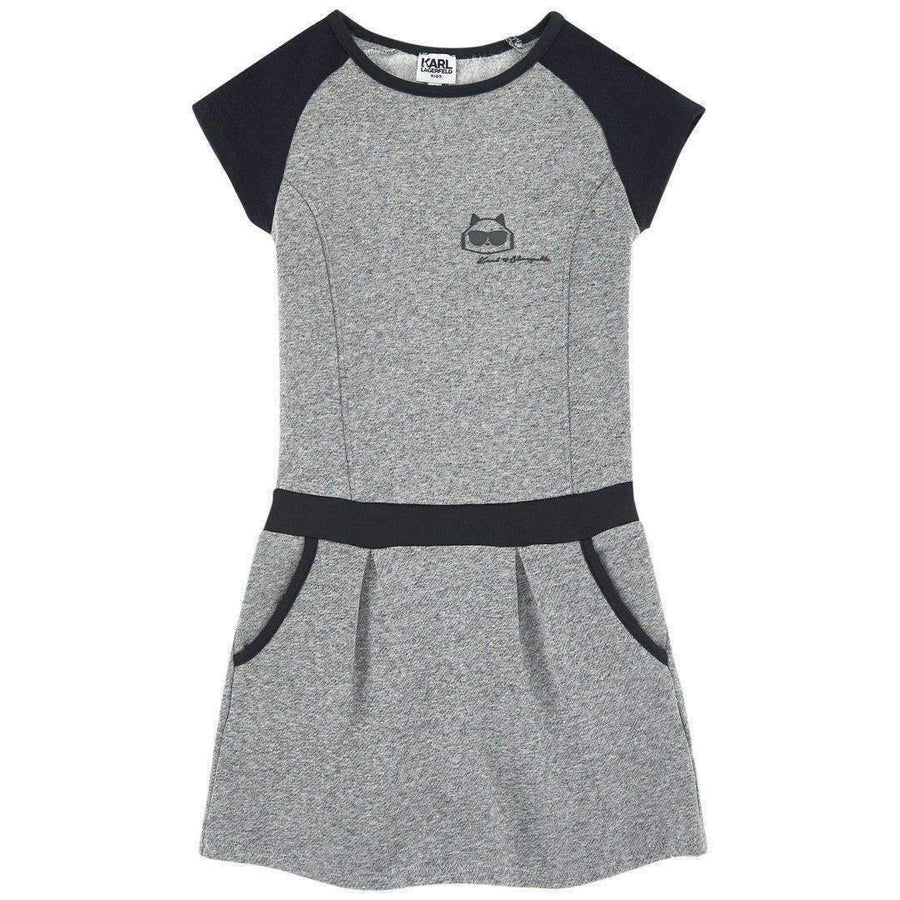 Karl Lagerfeld Gray Sweatshirt Dress-Dresses-Karl Lagerfeld-kids atelier