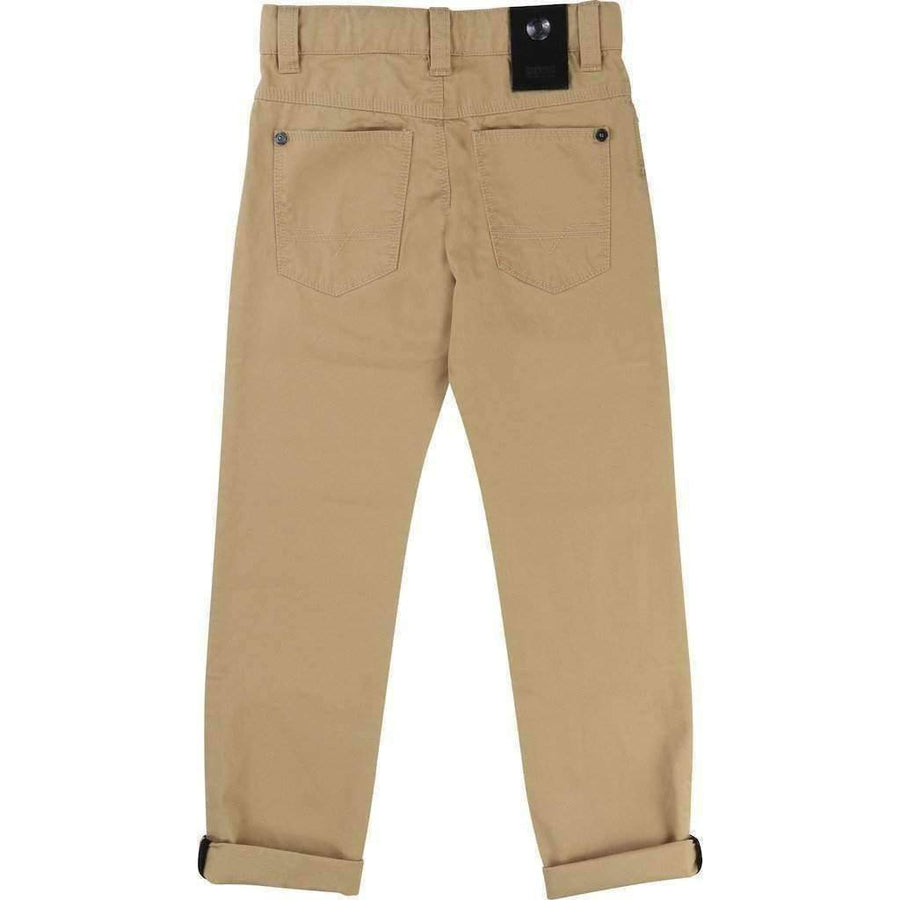 Light Khaki Twill Pants-Pants-BOSS-kids atelier
