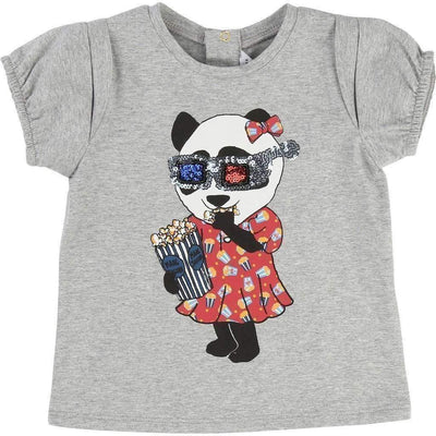 Little Marc Jacobs Grey Movie Panda T-Shirt-Shirts-Little Marc Jacobs-kids atelier