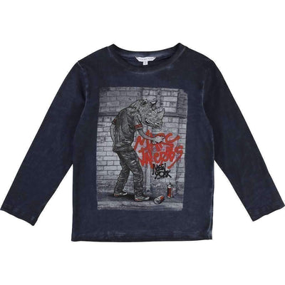 Little Marc Jacobs Slate Blue Rhino T-Shirt-Shirts-Little Marc Jacobs-kids atelier