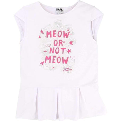 Meow Or Not Meow Ruffle T-Shirt-Shirts-Karl Lagerfeld-kids atelier
