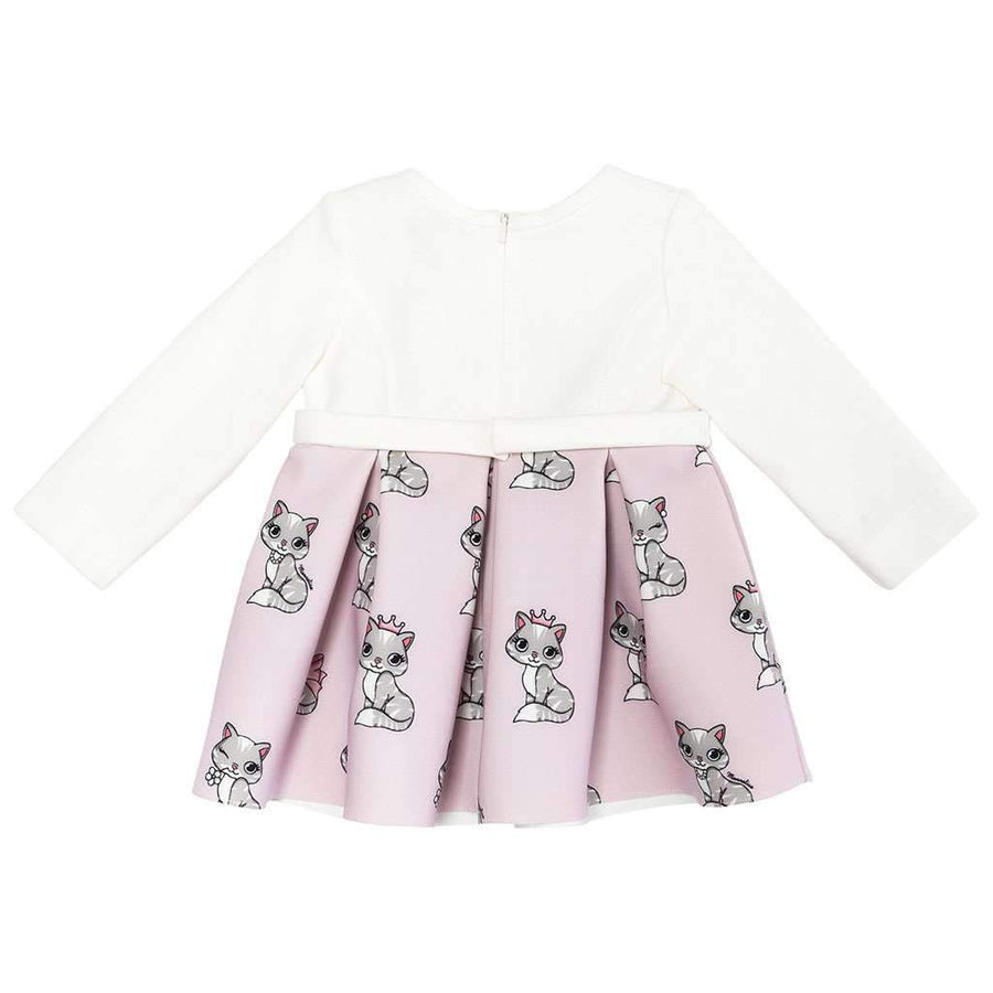 Monnalisa Neoprene Gattini Kittens Dress-Dresses-Monnalisa-kids atelier