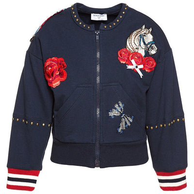 Monnalisa Stretch Fleece Horses Jacket-Outerwear-Monnalisa-kids atelier
