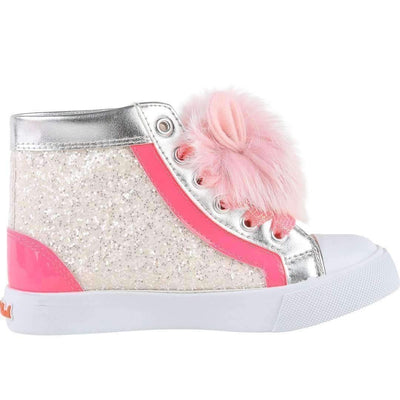 Pink Glitter PomPom Trainer Shoes-Shoes-Billieblush-kids atelier