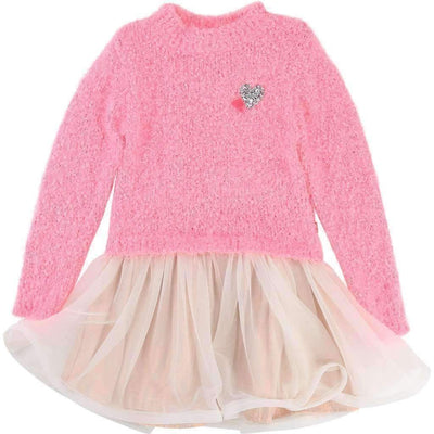 Pink Knitted & Mesh Dress-Dresses-Billieblush-kids atelier
