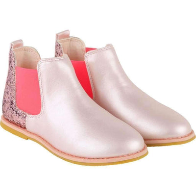 Pink Sequin Iridescent Ankle Boots-Shoes-Billieblush-kids atelier